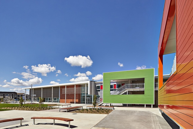 The newly completed Ormiston Primary School with its vibrant facade details.