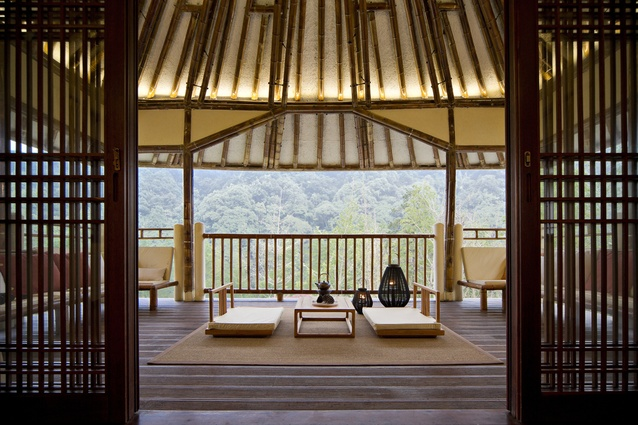 Bamboo Villa, China. Bamboo has been used here not only as an architectural element, but also as interior decoration, and was sourced from the neighbouring Nankun Mountain.
