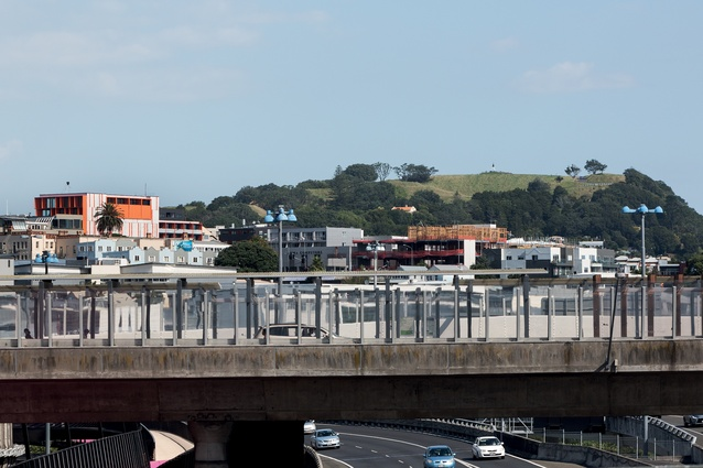 The Orange building sits within the fringe city of Newton, with Maungawhau, or Mount Eden, nearby.