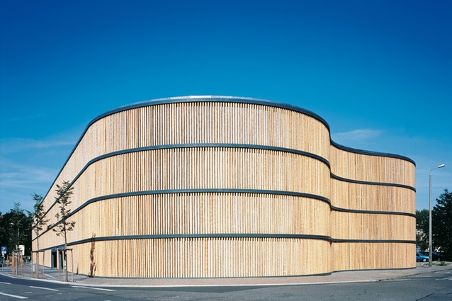 Parking Garage of Leipzig Zoo, Germany by HPP Architects. The parking garage expresses a unity with the adjacent zoo grounds, hence the use of bamboo as the façade material.