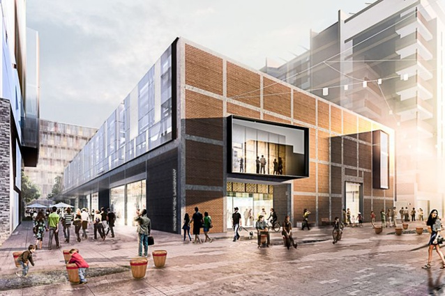Render of the former Mason Bros building in the Innovation Precinct, the new location of Warren & Mahoney's Auckland studio.