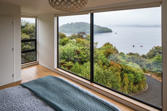 One of the bedrooms has a spectacular view over Paterson Inlet and Ulva Island.