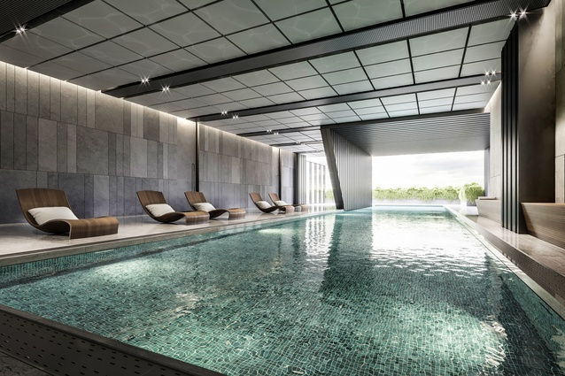 Communal amenities include a lap pool, sauna, steam room, spa, gym and yoga studio, media room, residents lounge, library and barbecue terrace.