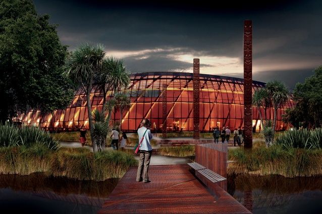 Rendering of Te Puna Ahurea by Royal Associates Architects.