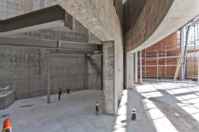 A special self-compacting concrete was used as a result of the extensive reinforcing throughout the structure.