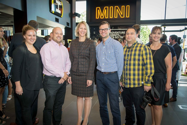 Left to right: Mel Lee, Fly; Brett Waudby, MINI NZ; Nina Englert, MD BMW NZ; Johnny Highton, MINI Garage; Johnson McKay, Fly and Simonne Mearns, MINI marketing manager.