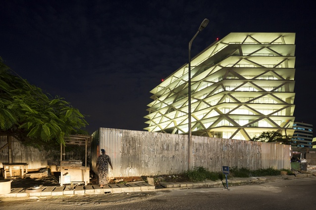 The mixed-use One Airport Square, Ghana, Africa. The first building in the country to be awarded 4 Stars (Design stage) by the Green Building Council of South Africa (GBCSA).