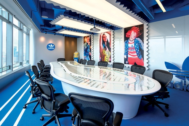 A boardroom in the adidas offices, located in Shanghai and designed by PDM International.