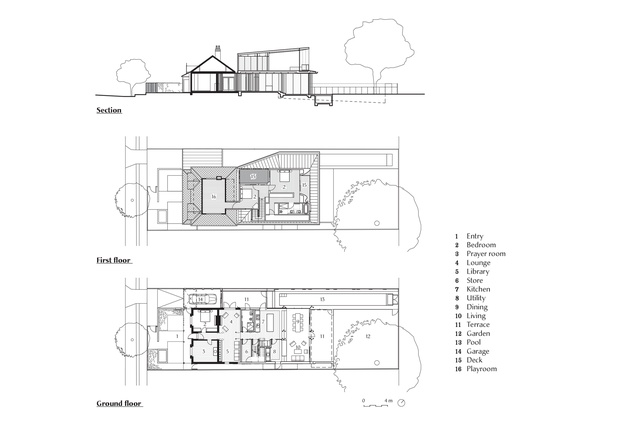 Plans and section of the Rose Bay House by Tonkin Zulaikha Greer.