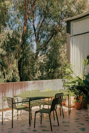 The apartment's most compelling artisanal feature is the courtyard's bespoke pink and green terrazzo, which also set into the interior's oak floor.