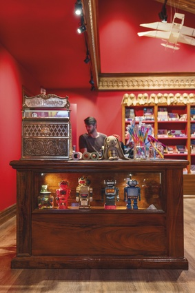 The toy shop is designed in a classic village style.