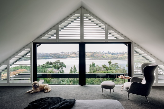 From the master bedroom, there are uninterrupted views across the Orakei Basin and beyond.