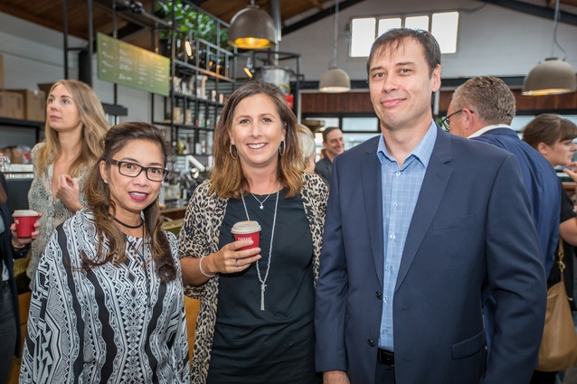 Louella Go and Bianca Peters (McGreals) with Mark Lipman (AGM).