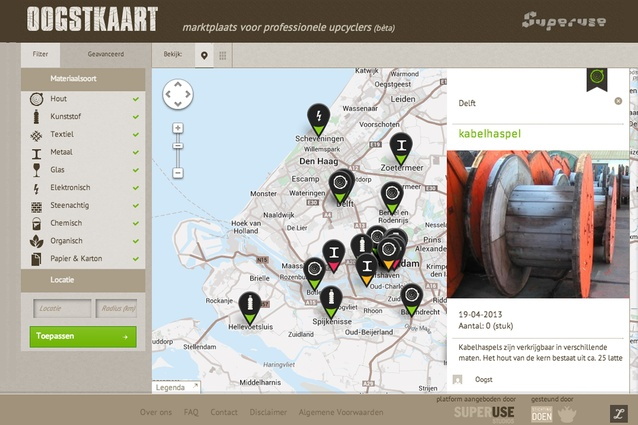 Harvestmap.org. Superuse Studios created this site in order to easily map the sources of waste materials. It is an open platform that can be used globally.