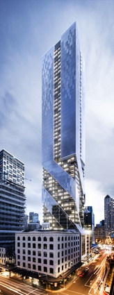 Its glass façade is composed of three blue glass tubes that twirl upward.
