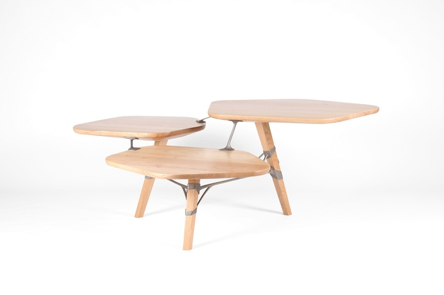 The Titanium-Tawa Table consists of three one-legged wooden surfaces, supported by a web of 3D printed titanium.