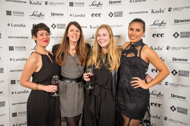 Amelia Melbourne-Hayward (ArchitectureNow editor), Sophie Curabet, Doni Clarke (AGM Publishing team) and Pearl Vea (McCollams Print).