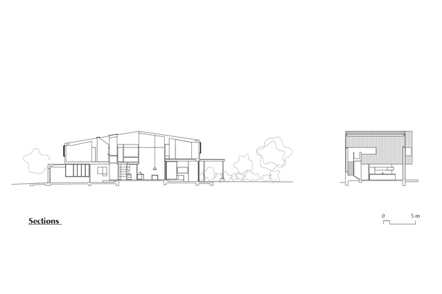 Sections of Brick House by Andrew Burges Architects.