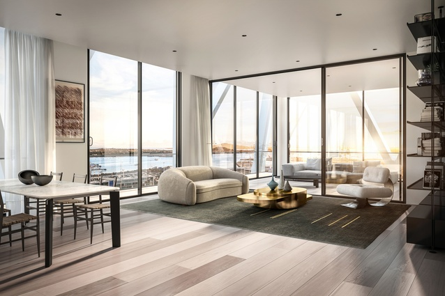 Apartment dwellers will enjoy expansive urban and harbour views from this 17-floor residential tower.