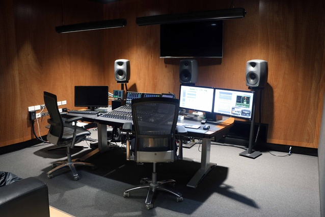 The sound studio inside the TVNZ Headquarters. Acoustic design for these spaces is often very complex.