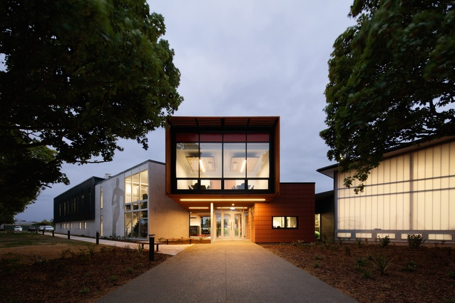 Canterbury Rugby Football Union, 2013, Athfield Architects. The main entry and two wings form the 'L' shaped building, creating a secure edge to the field beyond.