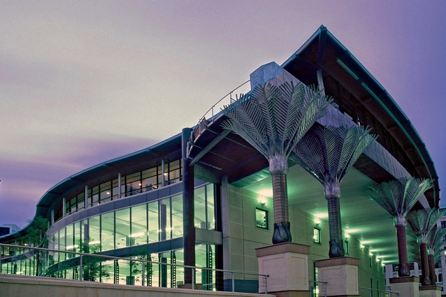 Designed by Athfield Architects, the Wellington Central Library features floor-to-ceiling glazing.