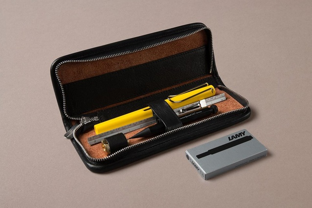 "This <a href=""https://choosingkeeping.com/collections/gifts-for-architects-and-designers/products/architects-set"" target=""_blank""><u>stationery set</u></a> was created with designers in mind, and includes an extra special Bauhaus Yellow Lamy Safari fountain pen, amongst other items."