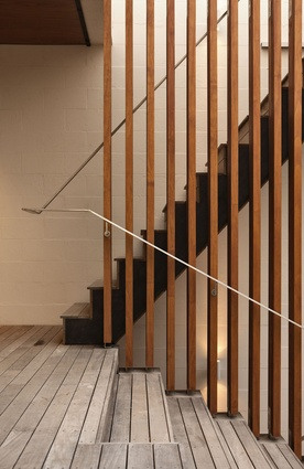 Timber battens have been used for the outdoor staircase.
