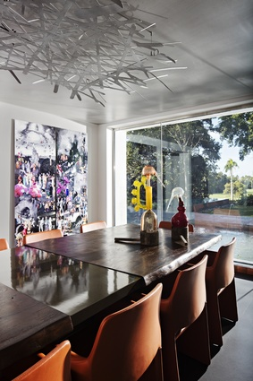 The furnishings are in keeping with a neutral backdrop for the often daring and colourful artwork.