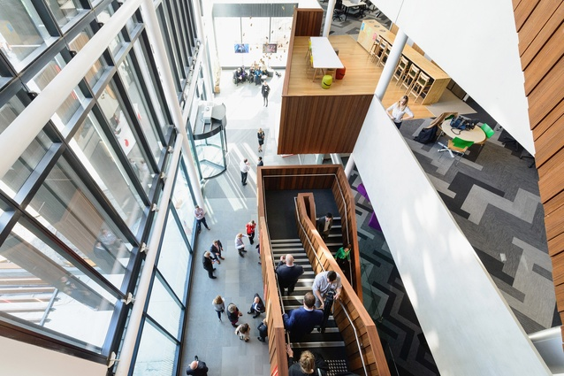 Atrium in the Jasmax-designed Vodafone InnoV8 building, Christchurch. An abundance of daylight and natural ventilation creates a healthy work environment.