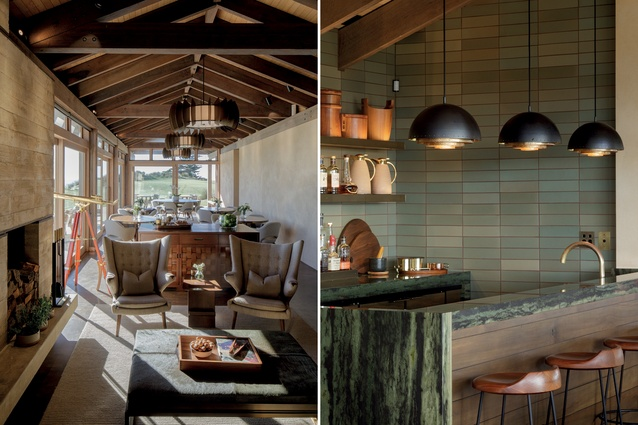 L: A small space replete with pieces by Herringbone Design and Knoll and in materials that emulate the colours and textures of the exterior. R: The bar area features green and brown tones.