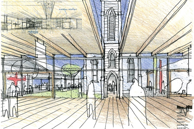Sketch of the Wairarapa Arts & History Centre competition (1998), designed by architecture +.