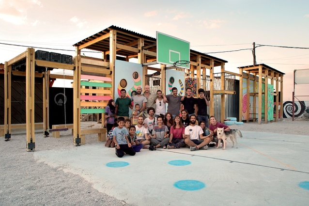 CatalyticAction and its partner organisations have created the IBTASEM playground in an informal tented settlement in Bar Elias, Lebanon. Here, the team celebrate its opening.
