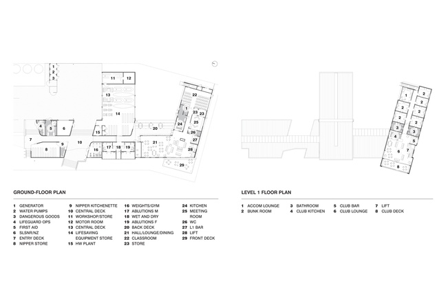 Ground and level one floor plan.