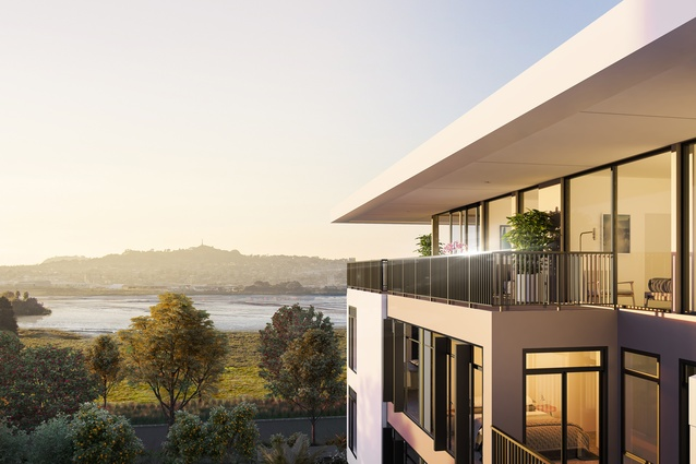 Render of the view from one of the Market Cove apartments.