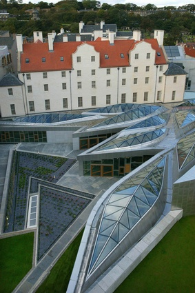 The Scottish Parliament building by the late Enric Miralles, 2004.