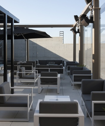A large rooftop space allows guests to breathe some fresh air before they travel.