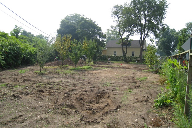 "Before: Curtis ""50 Cent"" Jackson community garden. Underwritten by 50 Cent's G-Unity Foundation, the space now incorporates a children's learning garden, vegetable plots and a patio area."
