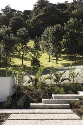 Landscaping is by Strass Landscapes Developer, and features many native trees and plants.