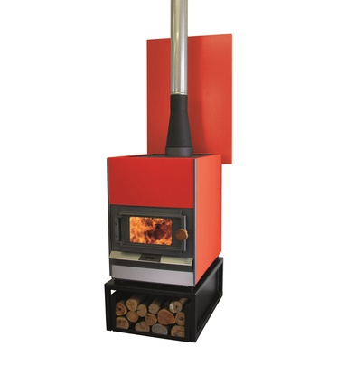 """Handmade in the Hawke's Bay, the <a href=""""http://www.pyroclassic.co.nz/"""" target=""""_blank""""><u>Pyroclassic IV free-standing woodburner</u></a> is available in 100 colours, it can be fitted with a high-output wetback for hot water, and you can cook on it."""