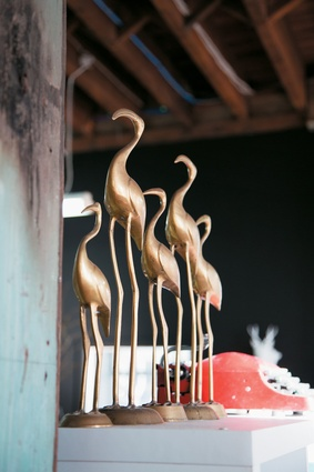 Golden flamingos.