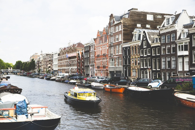 Amsterdam is surrounded by canals.