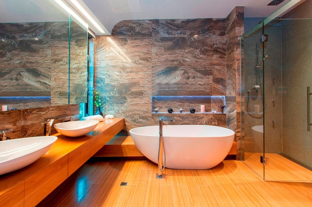This bathroom by Clive Barrington Construction Limited won the Plumbing World Bathroom Excellence Award category.