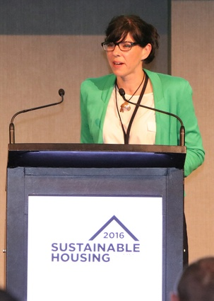 The City of Vancouver's Councillor Andrea Reimer, giving a keynote address on Vancouver's Greenest City Action Plan.