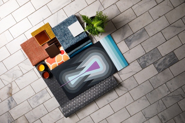 Maria Chen's mood board, made with Resene colours, wallpaper and James Dunlop textiles, all available from various Resene ColorShops.