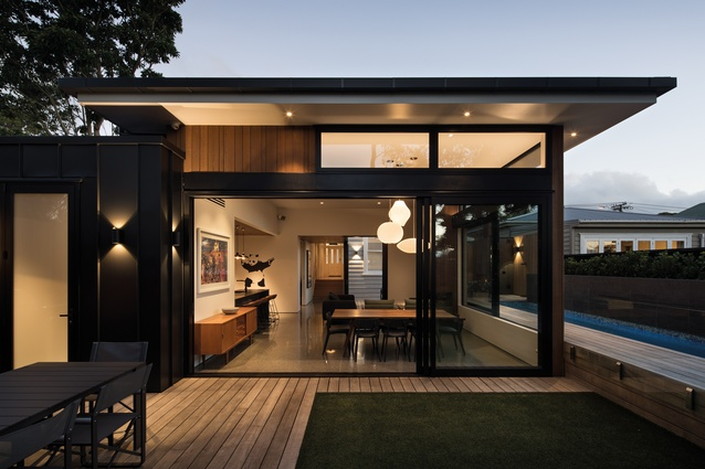 Grey Lynn House, Auckland. The living and dining space opens up to the barbecue area.