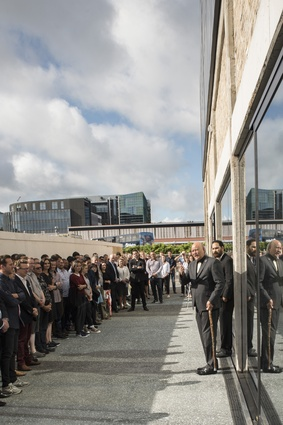 Ngāti Whātua kaumatua, Taiaha Hawke, leads the blessing of the Mason Bros building in the Innovation Precinct of the Wynyard Quarter.