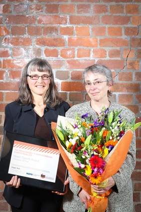 Winner of the Helen Tippet Award: Megan Rule (l) of South Pacific Architecture.