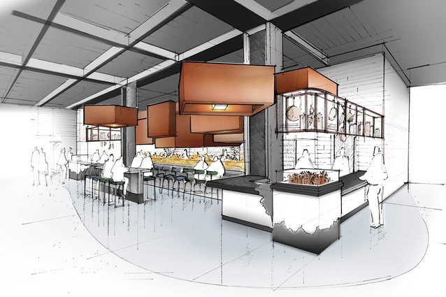 A concept drawing for Harbour Eats, one of two AvroKO projects expected to be launched in Auckland in the future.