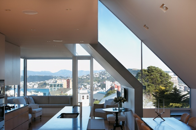 The Kelburn home makes the most of the ever-changing views across to Oriental Bay.